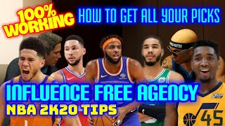 BEST INFLUENCE FREE AGENCY GUIDE NBA 2K20 / GET ALL YOUR PICKS NBA 2K20 TIPS