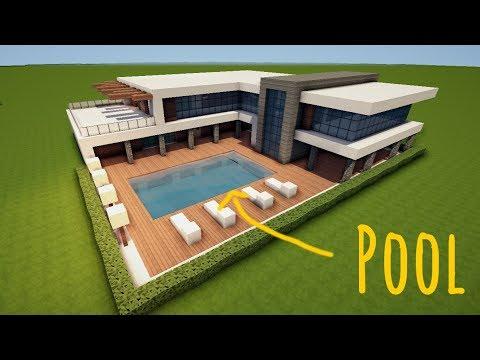 GROßES MODERNES MINECRAFT HAUS Mit POOL Bauen TUTORIAL HAUS - Minecraft grobe hauser zum nachbauen