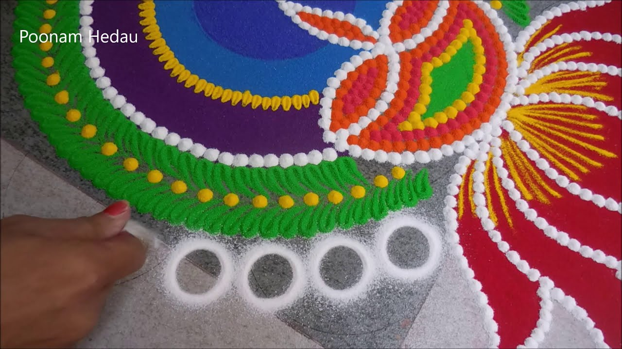 sanskar bharti rangoli design large and colorful by poonam hedau