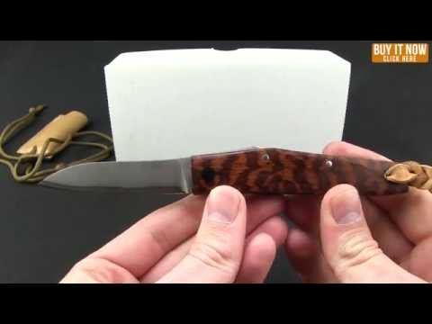 "Hiroaki Ohta Knives OFF-L Friction Folder Knife Rosewood Burl (3"" Damascus)"