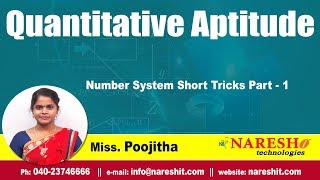 Number System Short Tricks Part - 1 | Quantitative Aptitude Tutorials | by Miss.Poojitha