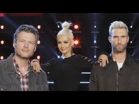 Watch Christina Aguilera Rub 'The Voice' Win in Adam Levine and Blake Shelton's Faces