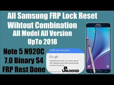 How To FRP Lock Google Account Samsung Note 5 | Bootloader