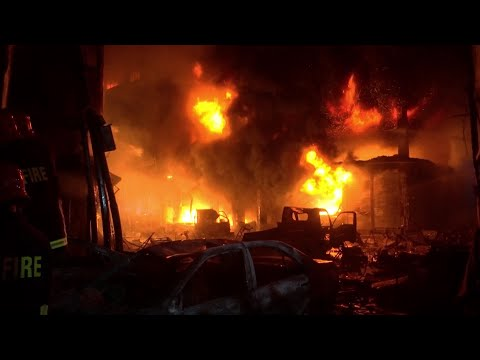 A devastating fire has raced through at least five buildings in an old part of Bangladesh's capital and killed at least 70 people. (Feb. 21)
