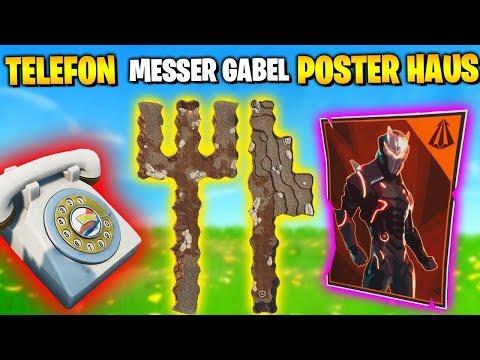 Suche zwischen Telefon, Gabelmesser, Haus voller Poster   Fortnite Blockbuster Aufgaben Deutsch