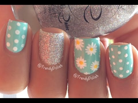 Cute Daisy Nail Art | Short Nails