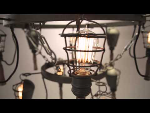 Video for Yardhouse Rusty Galvanized, Manila Rope and Wood Accents Six Light Pendant