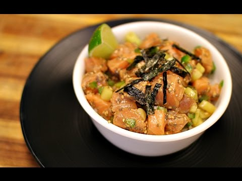 Video Salmon Poke Bowl - healthy recipe channel - seafood recipe - low carb - quick keto recipes
