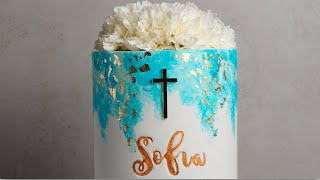 Blue And Gold Water Splotch Communion Cake- Rosies Dessert Spot