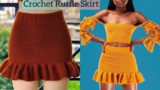 How To Crochet A Ruffle Skirt / Beginner Friendly
