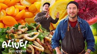 """Bon Appétit's Brad Leone is back for episode 54 of """"It's Alive,"""" and this time he's fermenting citrus fruits! Brad tries his hand at fermenting kumquats, lemons, limes, and blood orange to give your average citrus an It's Alive kick. Work them into vinaigrettes, top your squid salads with them, or get creative! The world is your oyster, whether you pronounce your oyster condiment mignonette or """"min-yet.""""  Join Bon Appétit Test Kitchen host Brad Leone on a wild, roundabout, and marginally scientific adventure exploring fermented foods and more. From cultured butter and kombucha, kimchi and miso, to beer and tepache, learn how to experiment with fermented and live foods yourself.   Want Bon Appétit shirts, hats and more? https://shop.bonappetit.com/?utm_source=youtube&utm_brand=ba&utm_campaign=aud-dev&utm_medium=video&utm_content=merch-shop-promo  Still haven't subscribed to Bon Appetit on YouTube? ►► http://bit.ly/1TLeyPn  ABOUT BON APPÉTIT Cook with confidence using Bon Appetit's kitchen tips, recipes, videos, and restaurant guides. Stay current on the latest food trends, dining destinations, and hosting ideas.   Brad Makes Fermented Citrus Fruits 