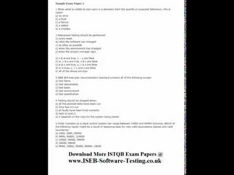 ISEB-ISTQB Software Testing Mock Test 01