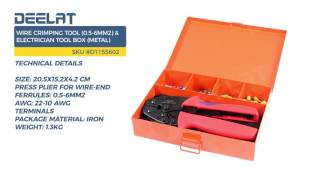 Wire Crimping Tool (0.5-6mm2) & Electrician Tool Box (Metal)