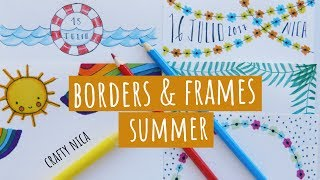 SUMMER-INSPIRED BORDERS & FRAMES DESIGNS. Summer Doodles For Cards & School Projects