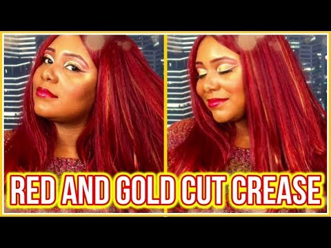 Red & Gold Cut Crease | Inspired By MakeupTiffanyJ | Kee's Way