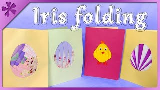 DIY Iris Folding Easter Card, 4 Templates, Chick, Easter Egg (ENG Subtitles) - Speed Up #584
