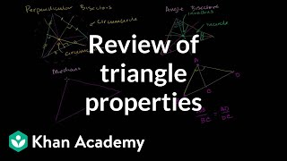 Review Of Triangle Properties | Special Properties And Parts Of Triangles | Geometry | Khan Academy