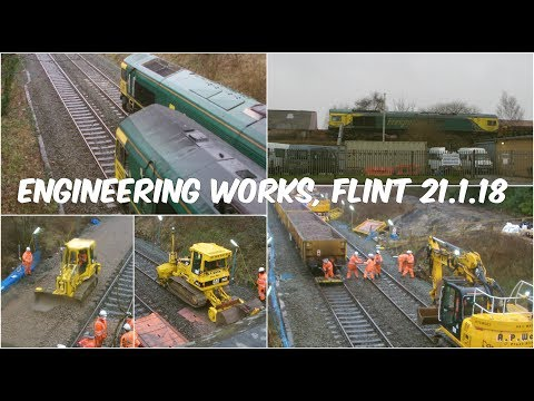 Freightliner Class 66 locos working engineers trains at Flin…