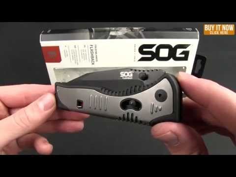 "SOG Flashback Spring Assisted Drop Point Knife (3.5"" Black Plain) SAT002"