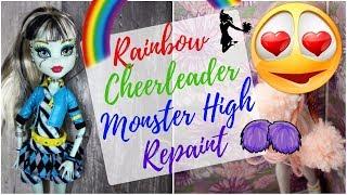 Cheerleader Doll with Unicorn Makeup - Monster High Doll Repaint / Custom Frankie Stein Faceup