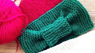 Простая повязка на голову спицами. МАСТЕР-КЛАСС - вязание спицами. #SM
