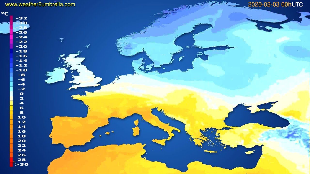 Temperature forecast Europe // modelrun: 00h UTC 2020-02-02