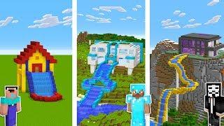 Майнкрафт битва: НУБ vs ПРО vs БОГ: Водная горка Дом в Майнкрафт!