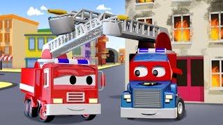 Carl si Truk Super dan Si Mobil Pemadam di Kota Mobil | Kartun Truk untuk anak-anak