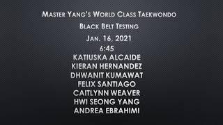 Black Belt 2nd Dan Testing - 1/16/2021 - 6:45pm - Katiuska, Kieran, Dywanit, Felix, Caitlynn, Hwi Seong, Andrea
