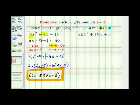 Factoring When the Leading Coefficient Doesn't Equal 1 | CK-12 ...