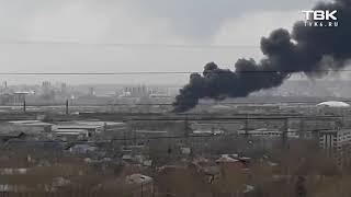 Сильный пожар в районе «Красмаша» в Красноярске