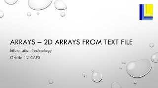 Arrays – Loading a 2D array from a text file
