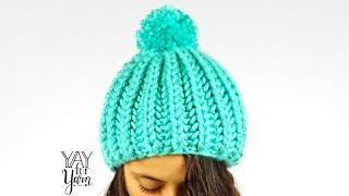 Easy SHORTCUT Brioche Pom Pom Hat - FREE Knitting Pattern | Yay For Yarn