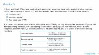 explain motivations for and advantages of trading blocs, common markets, and economic unions;