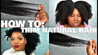 HOW TO: TRIMMING NATURAL HAIR - KINKY 4C THICK HAIR  | Bubs Bee