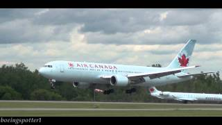 preview picture of video 'Air Canada Boeing 767-300 windy landing at Ottawa Airport'
