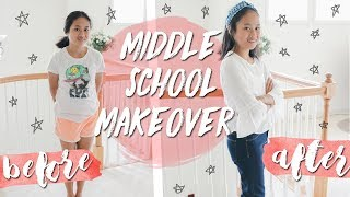MIDDLE SCHOOL MAKEOVER! Hair, Makeup + Outfit For Middle Schoolers 2017! Back To School 2017