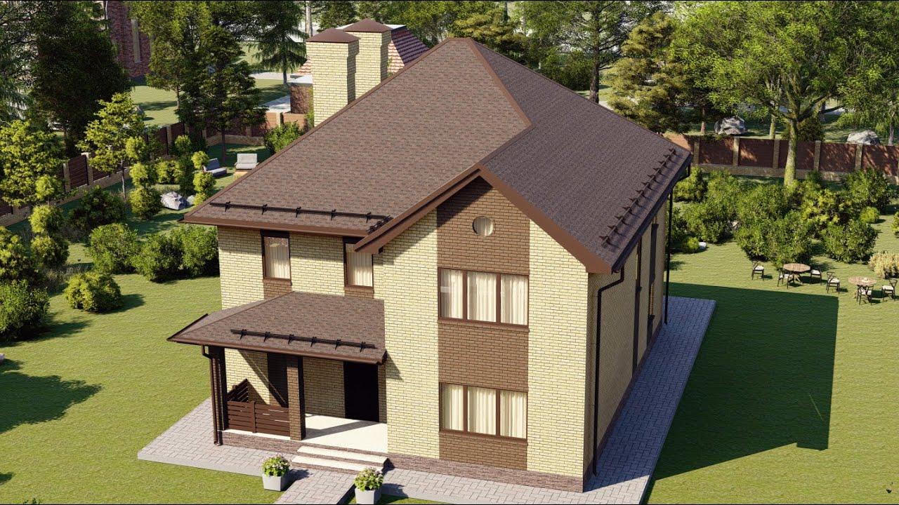 Проект современного дома из пенобетона с террасой 207 м2