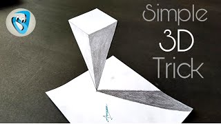 Simple 3D Trick on Paper 3D Drawing tutorial step by step