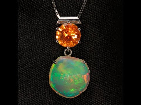 Opal and Spessartite Garnet Pendant by Margo Corley
