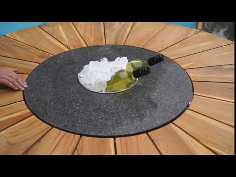 OUTFLEXX Esstisch mit drehbarer Granitplatte und Eiskühler