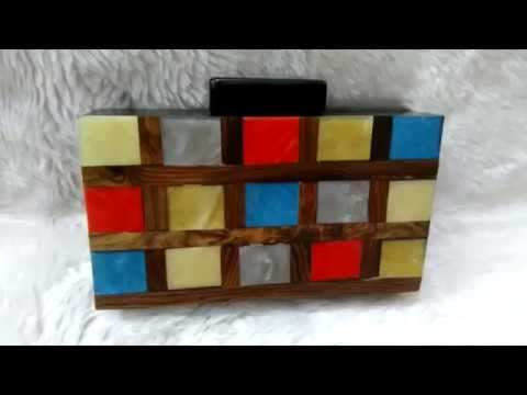 Multicolour Wooden Box Clutch