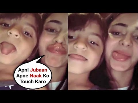 Ananya Pandey Teaching Shahrukh Khan Son Abram Khan To Touch His Tongue To Nose