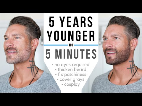 HOW TO COLOR YOUR BEARD FAST & EASY WITHOUT DYE - Thicken patchy spots, cover grays, define jawline
