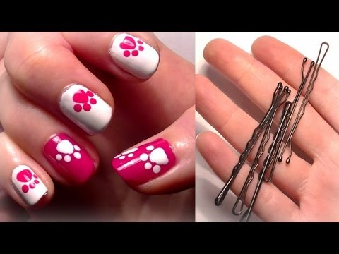 ♥ HELLO KITTY Inspired Nails... Using A Bobby Pin?! Easy Cute Nail Art For Beginners!