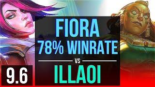 FIORA vs ILLAOI (TOP) | 78% winrate, KDA 11/2/1, Dominating | Korea Master | v9.6