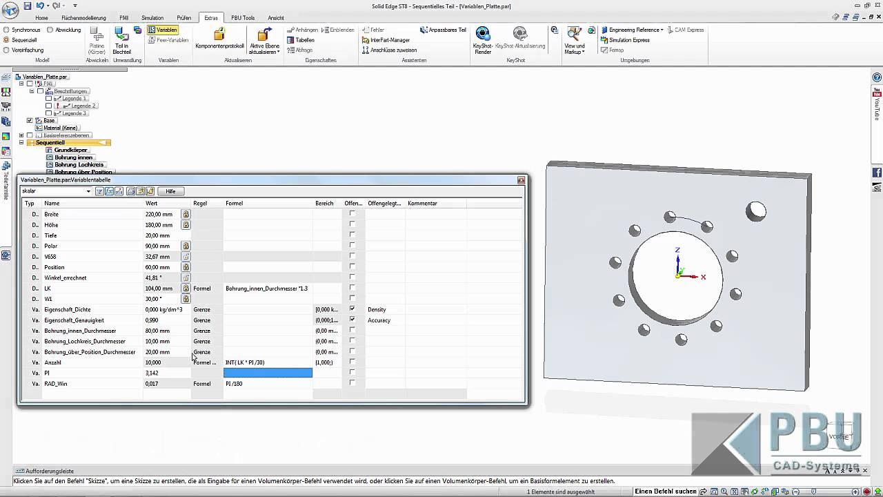 Vorschaubild: Solid Edge Tutorial: Variablentabelle – Anwenden von Funktionen