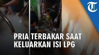 VIRAL Video Detik-detik Pria Terbakar saat Keluarkan Isi LPG, Merasa Tertipu karena Berisi Air