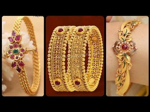 Gorgeous And Latest Luxury Women Gold Bangles Designs With Ruby And Diamond/ Gold & Ruby Bangles