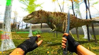Counter Strike Source Zombie Escape mod online gameplay on Jurassic Park Escape map